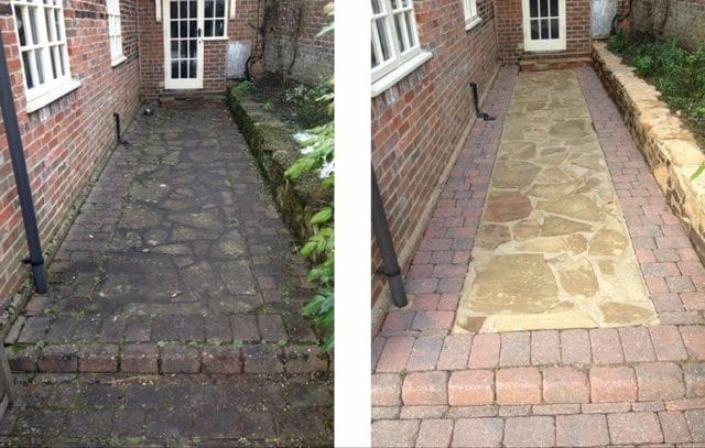 Pressure Cleaning Crazy Paving Footpath