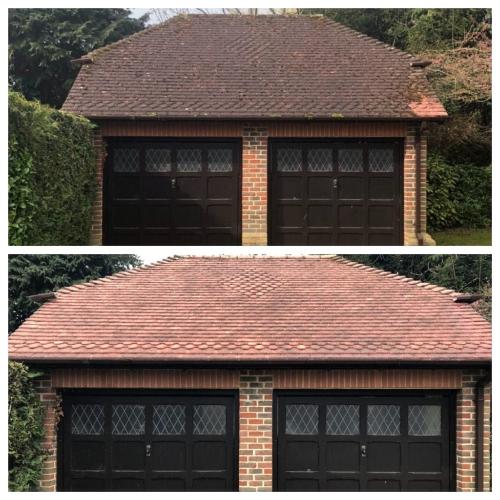 Before and after roof cleaning with high volume and low pressure