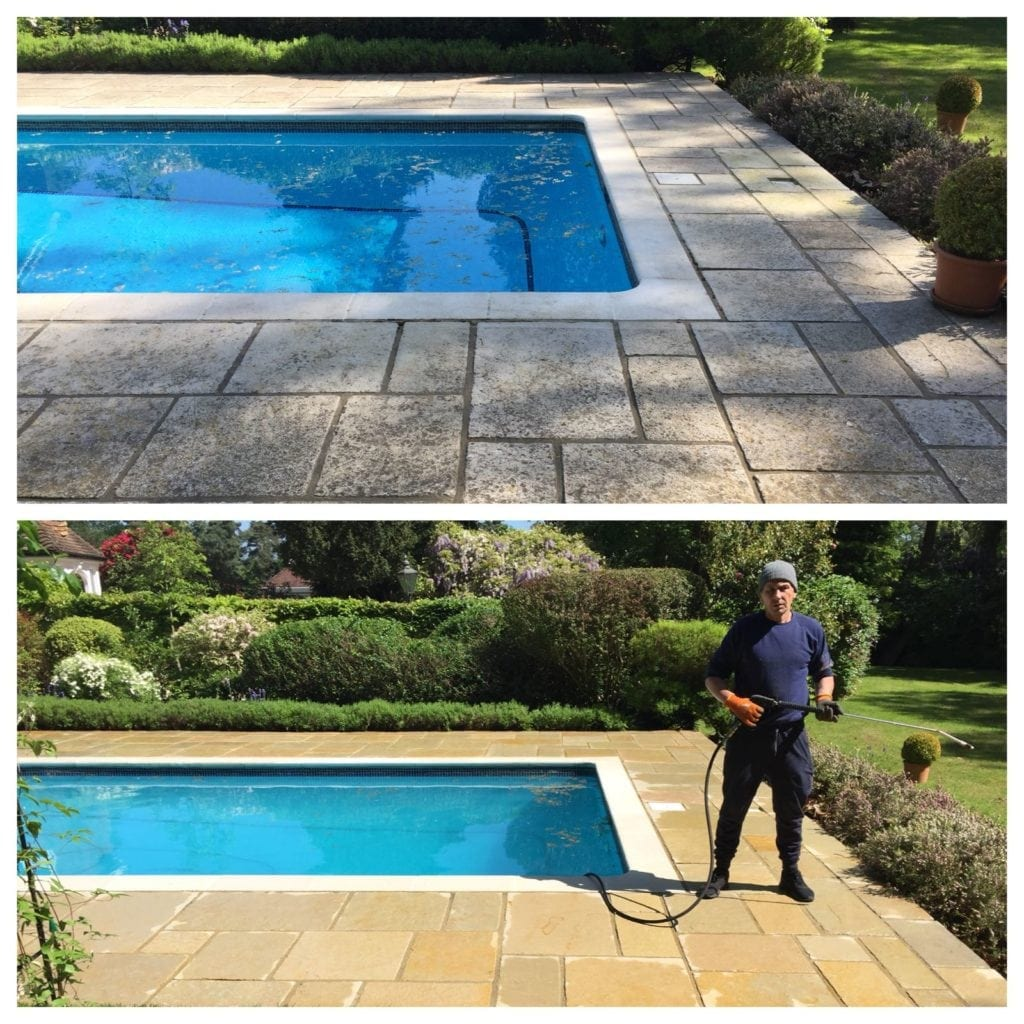 Patio around swimming pool in surrey pressure cleaned - Swimming pools in kingston upon thames ...