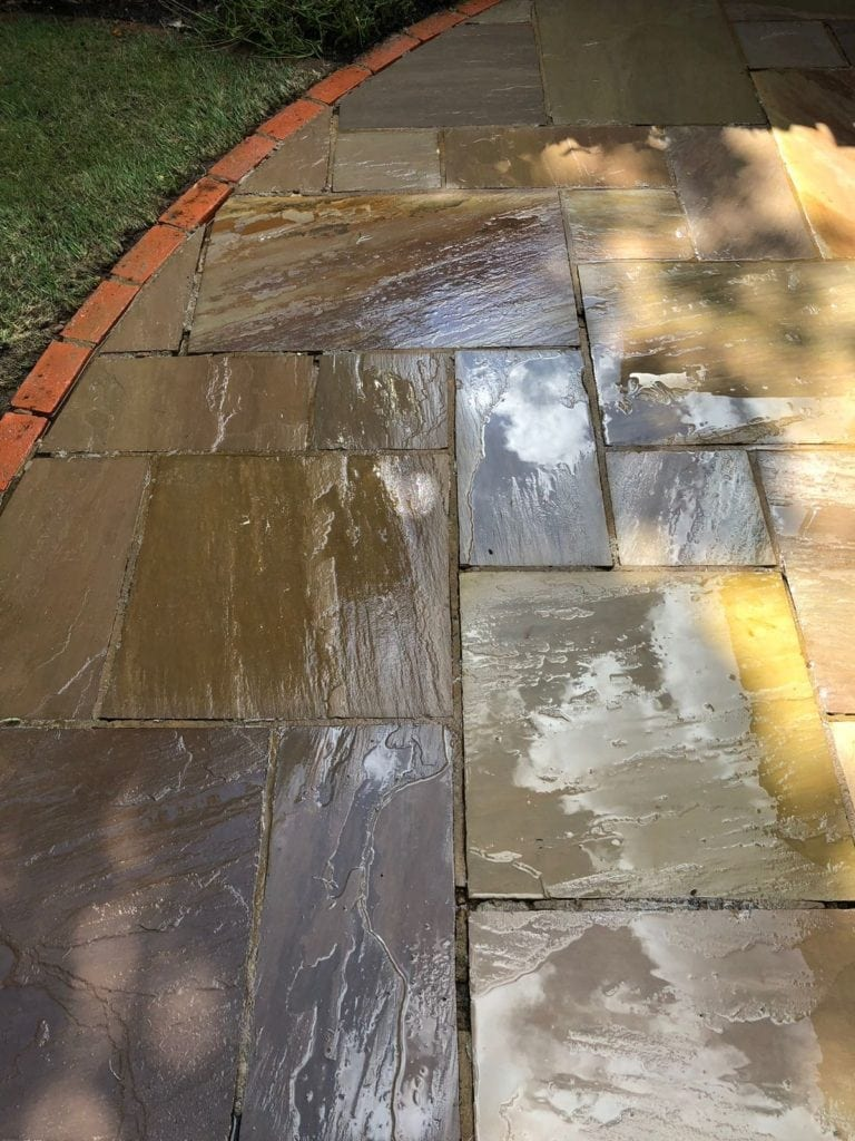 Patio black spot removal service on Indian sand stone in Bracknell