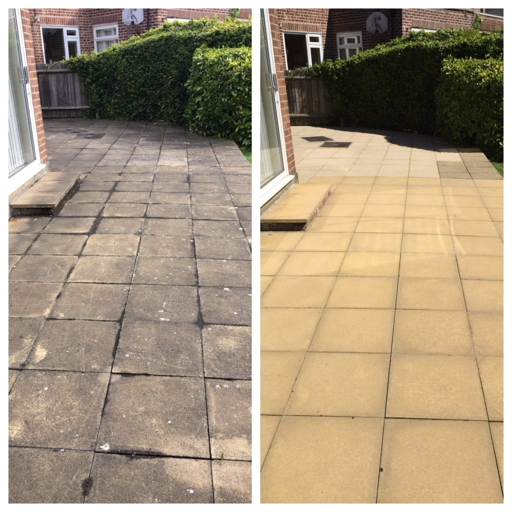 before and after pressure washing yellow concrete slabs