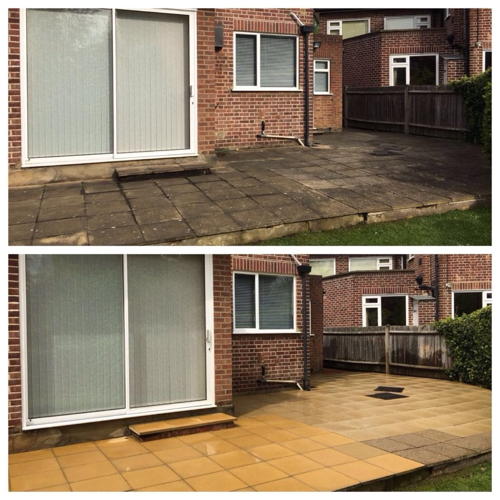 patio cleaning before and after yellow concrete slab patio pressure cleaning