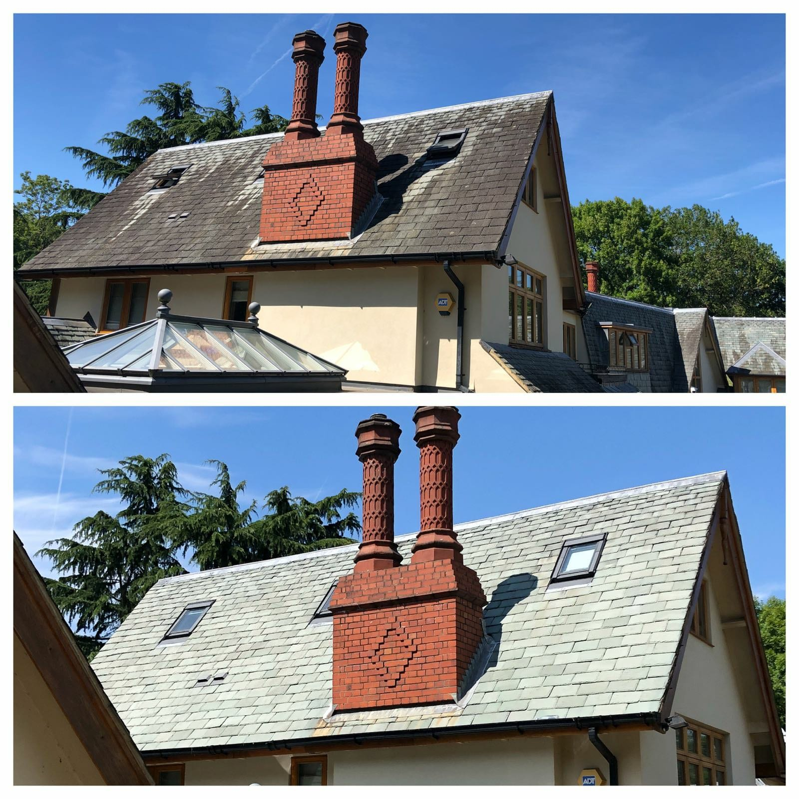 roof cleaning, gray slat roof