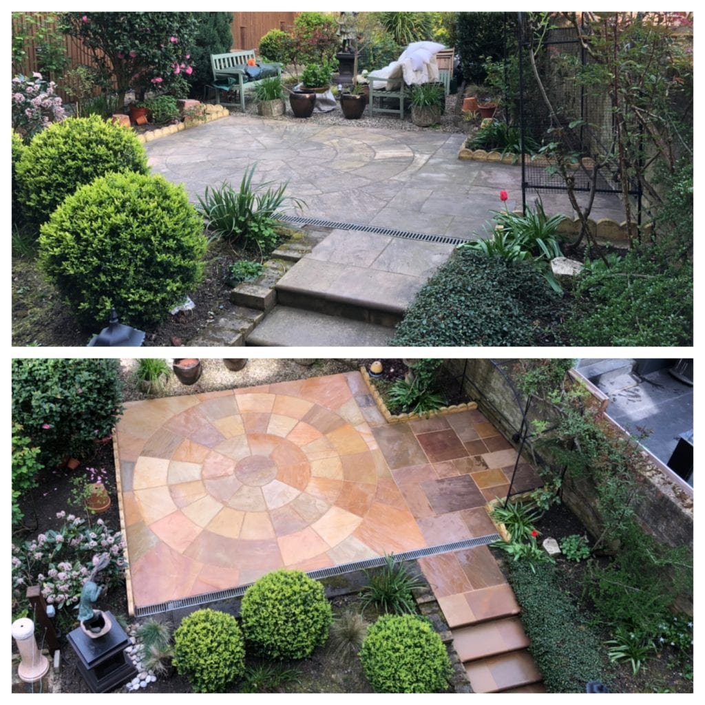indian sandstone patio steam cleaning Baelsize park London NW3