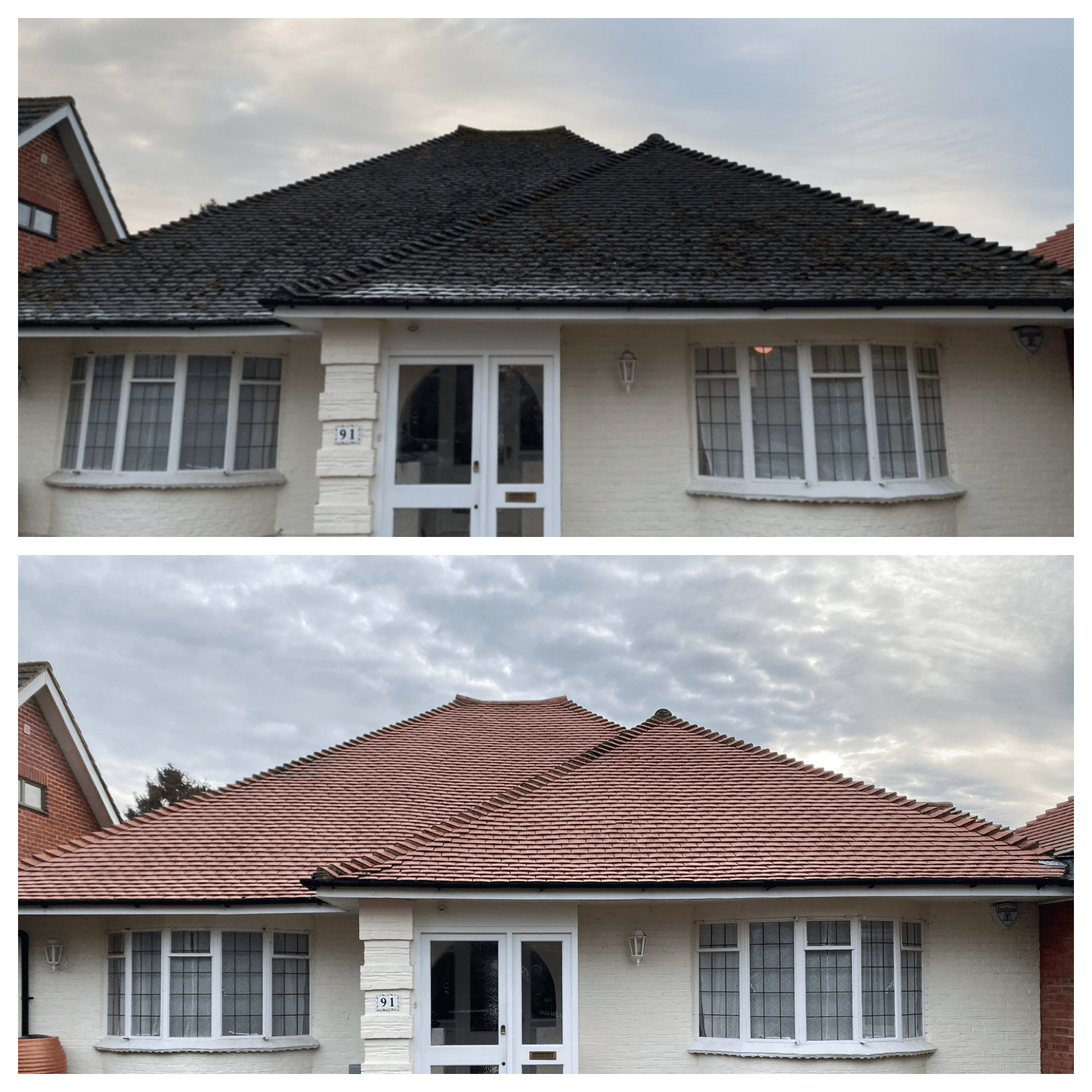 Red tile roof cleaning and moss removal, Guildford, Surrey