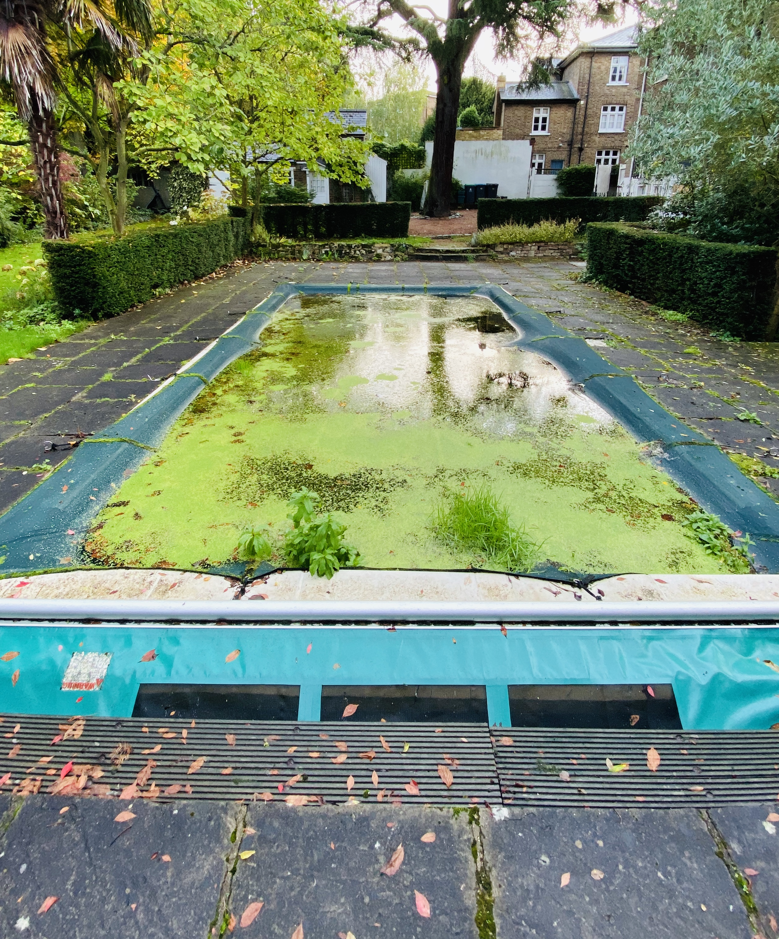 Draining and cleaning an unused residential swimming pool in Cobham, Surrey
